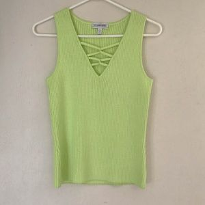 ST. JOHN SPORT Women's Sweater Top Knit Lime Green